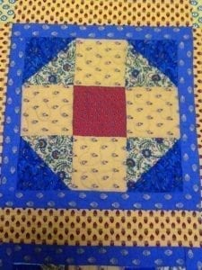 blue and yellow sampler