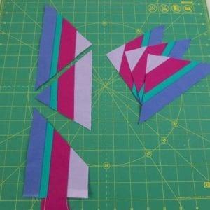Strip pieced triangles